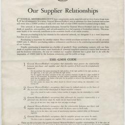 Supplier relationships code for General Motors-Holden's Limited