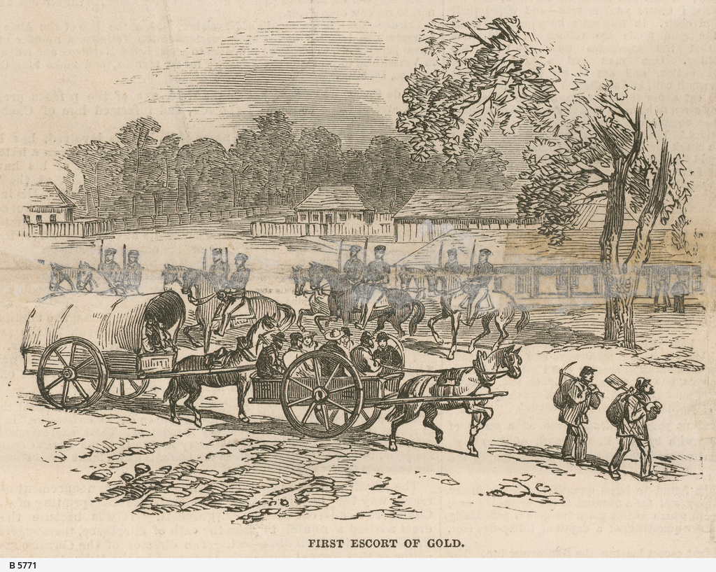 First escort of gold; Leaving the Ballarat Diggings
