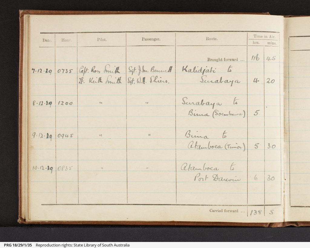 Aeroplane Log Book for Vickers Vimy G-EAOU