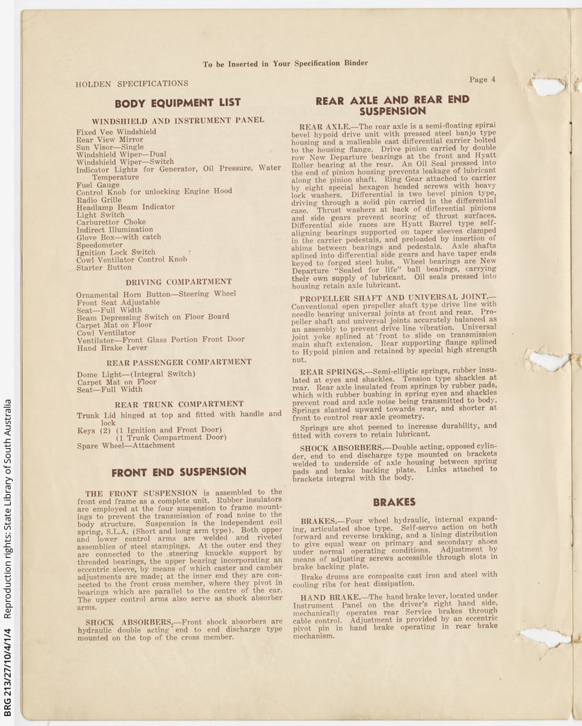 Holden 48-215: 'Technical specifications' • Manuscript • State