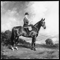 Painting of Norah Edkins on horseback