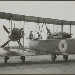 Crew in Vickers Vimy aircraft.