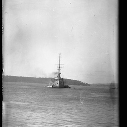 World War One warship in a harbour