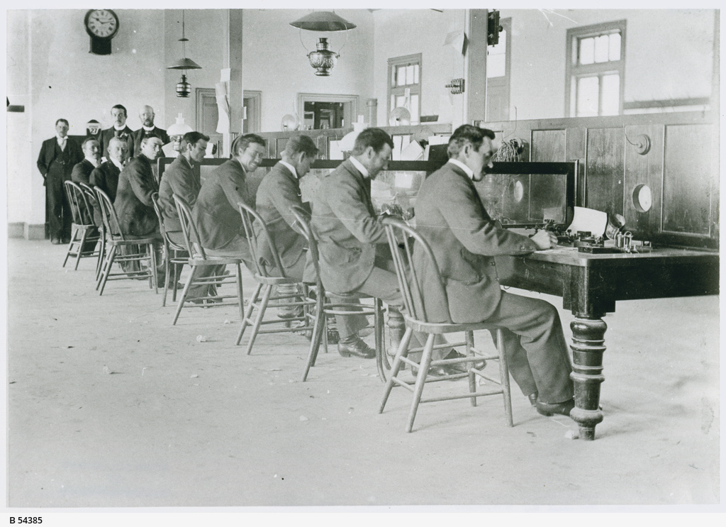 Telegraph station workers