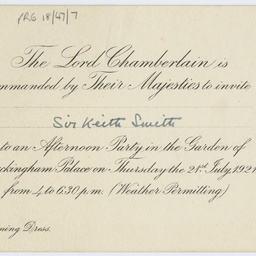 Invitation to Buckingham Palace issued to Sir Keith Smith