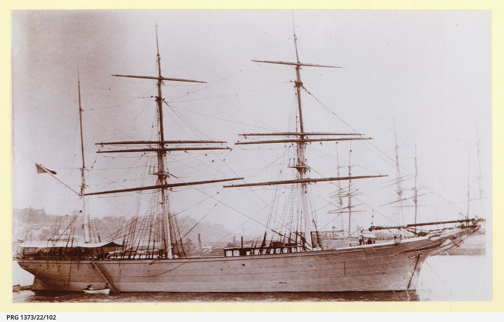 The 'Ione' anchored in an unidentified port