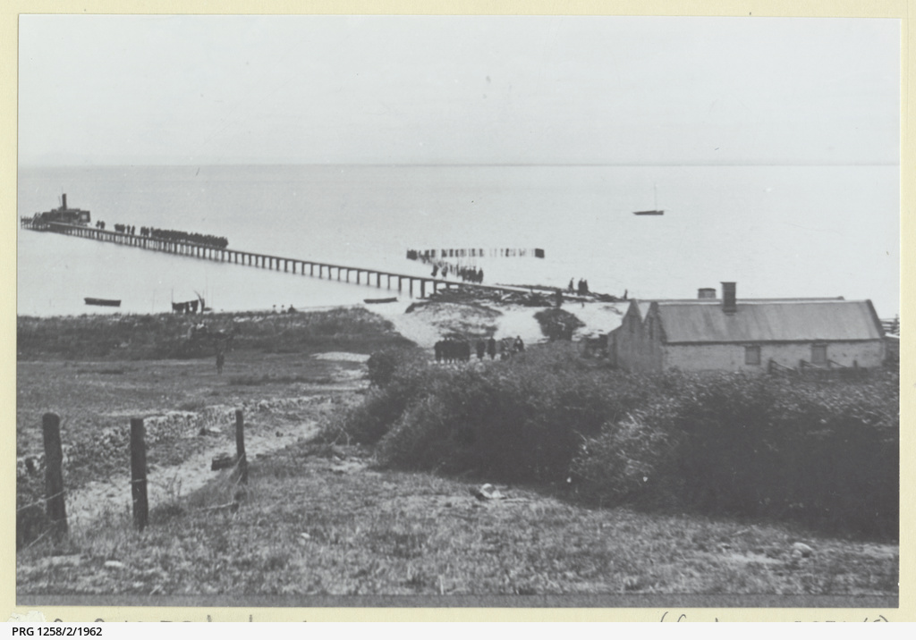 Distant view of Point McLeay Jetty