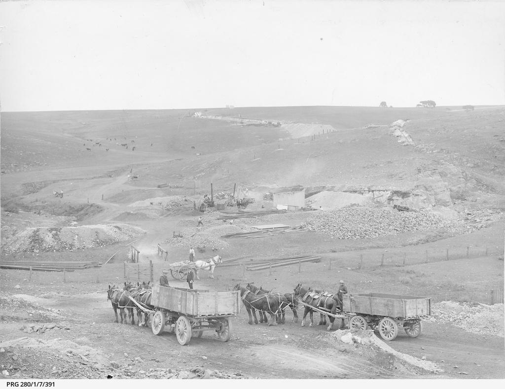Work beginning on the Willunga railway line, South Australia