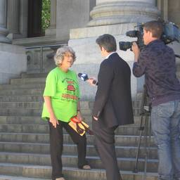 Dianne [sic] Bell being interviewed