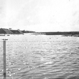 Buildings and powder magazines at Dry Creek during a severe flood