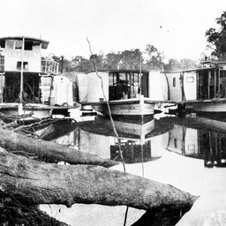 Small paddle steamer P.S. Ranger between Etona and Viola at Narrung near Boundary Bend