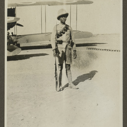 Soldier guarding the Vickers Vimy.