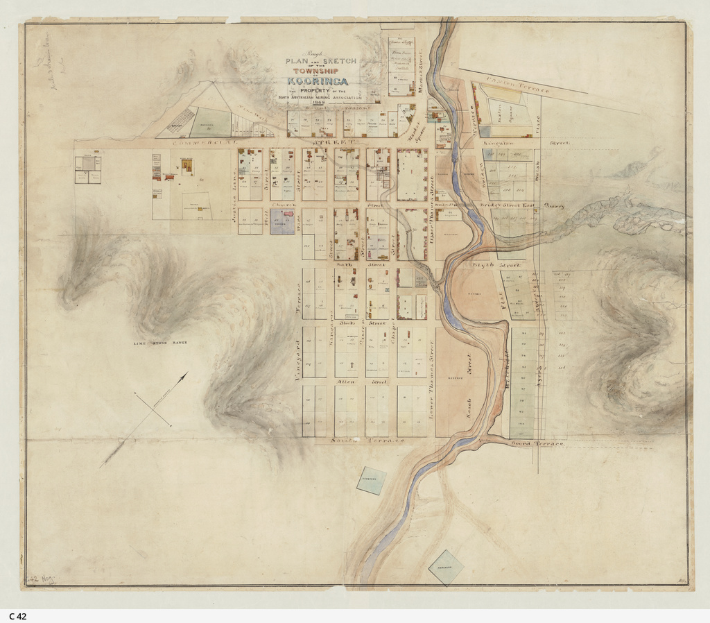 Rough plan and sketch of the township of Kooringa [cartographic material] : the property of the South Australian Mining Association