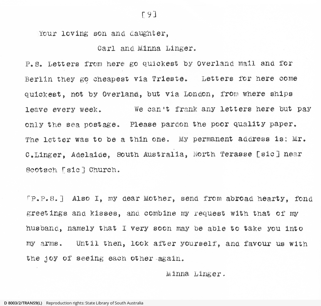 Letters from Carl Linger