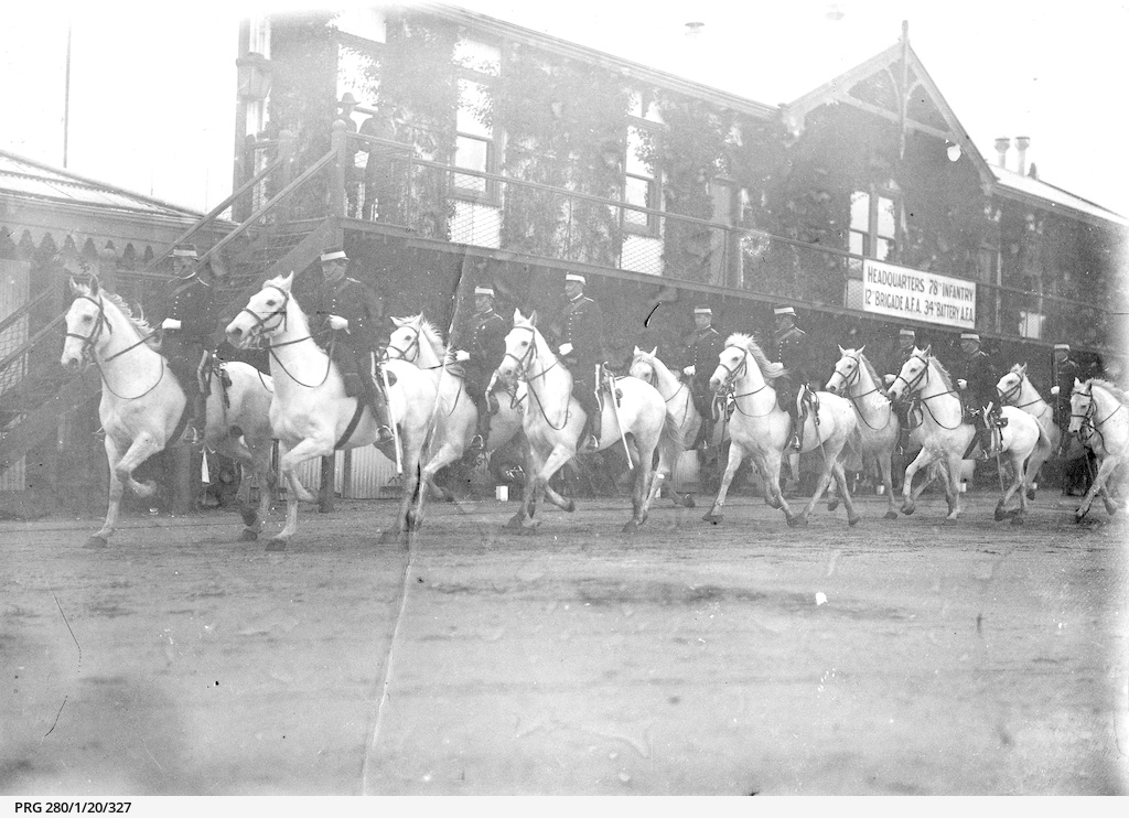 Cantering mounted police in Adelaide