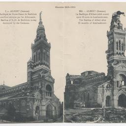 Postcard of the Basilica of Notre-Dame de Brebieres, France.