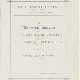 Order of Service for a Memorial Service for Sir Ross Smith and Lieutenant James Bennett.