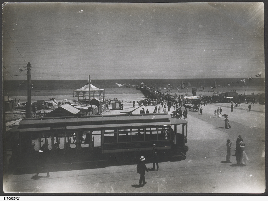 Open seater tram at Henley Square