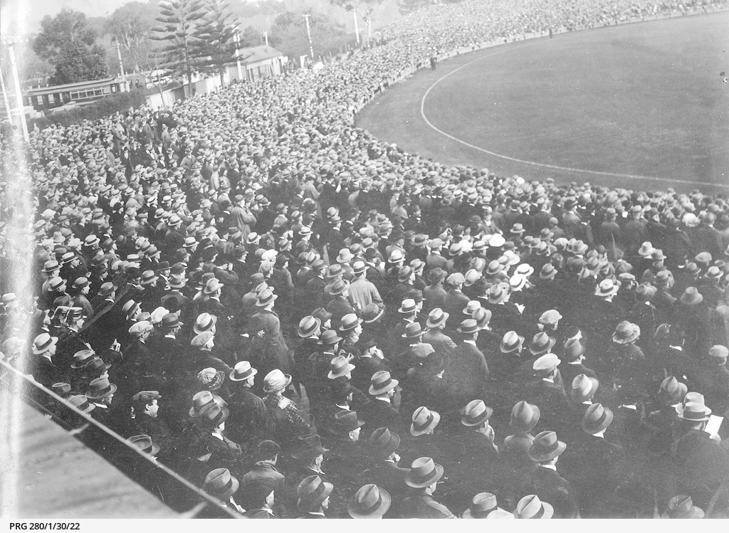 Part of the crowd attending a football match at Adelaide Oval