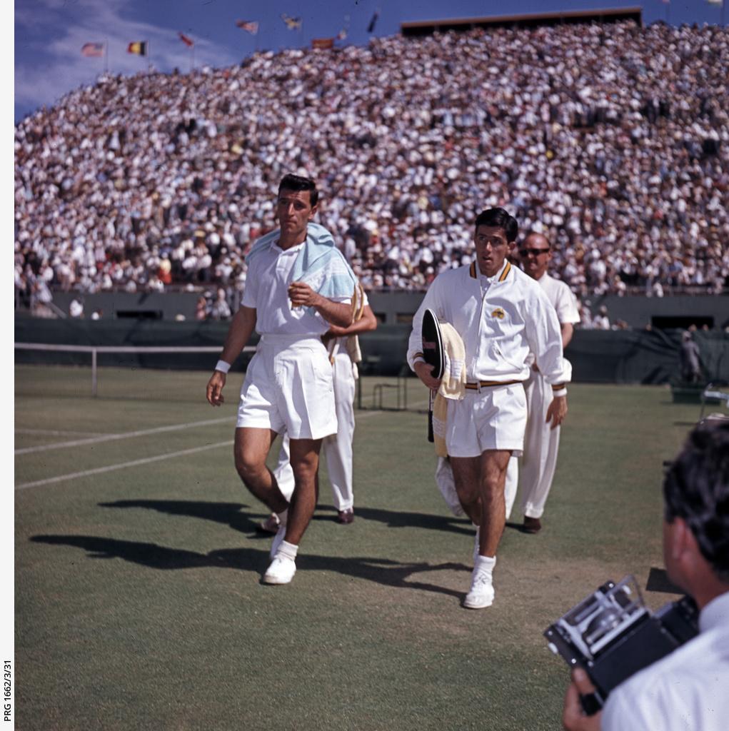 Vic Seixas and Ken Rosewall at the Davis Cup, Adelaide