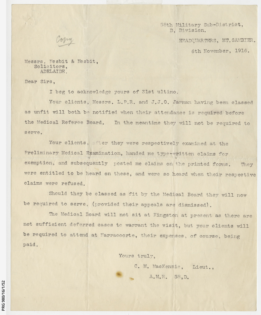 Letter about L. Jarman and J. Jarman's exemption from military duties