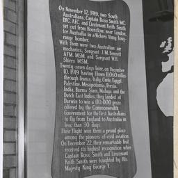 Memorial inscription at Adelaide Airport