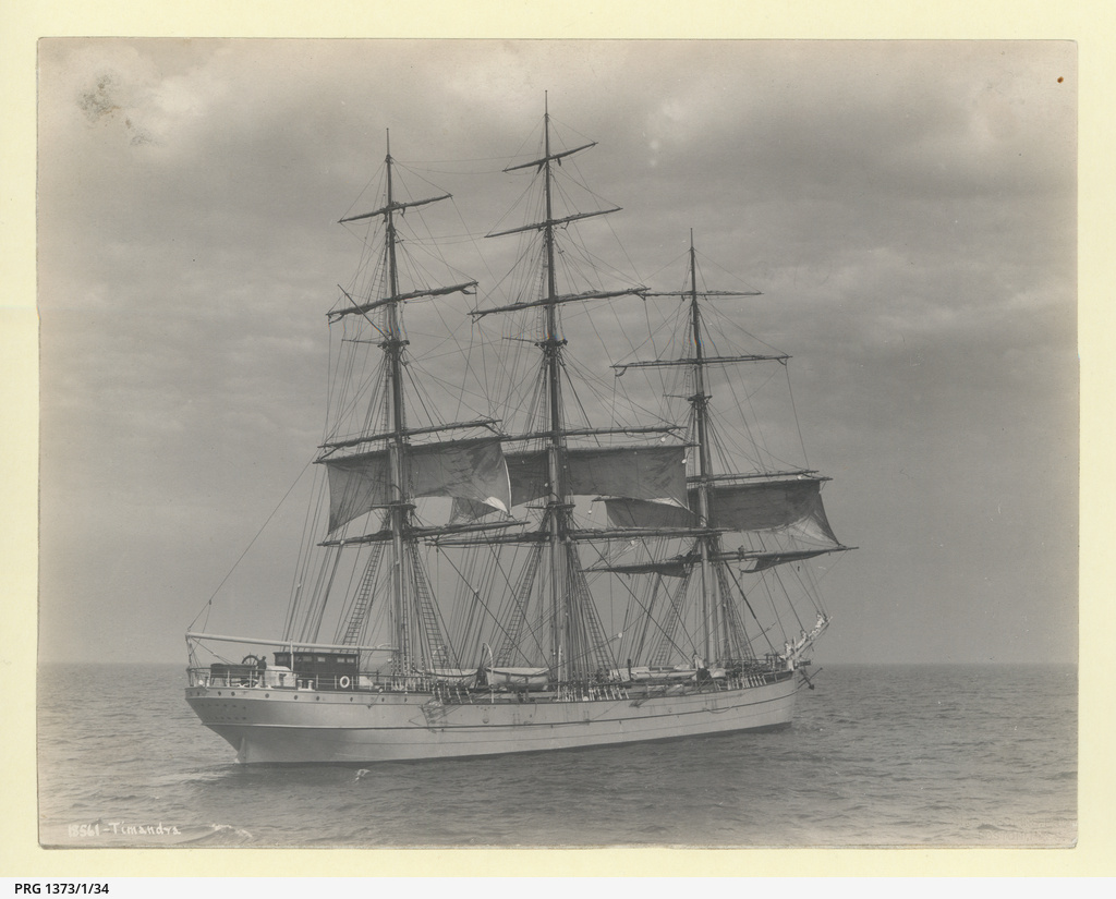 Arthur D Edwardes Summary Record Manuscript State Library Of Tall Ship Rig Types Plate 4 The Timandra Under Sail