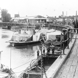 Shipping at Echuca Wharf with covered cargo