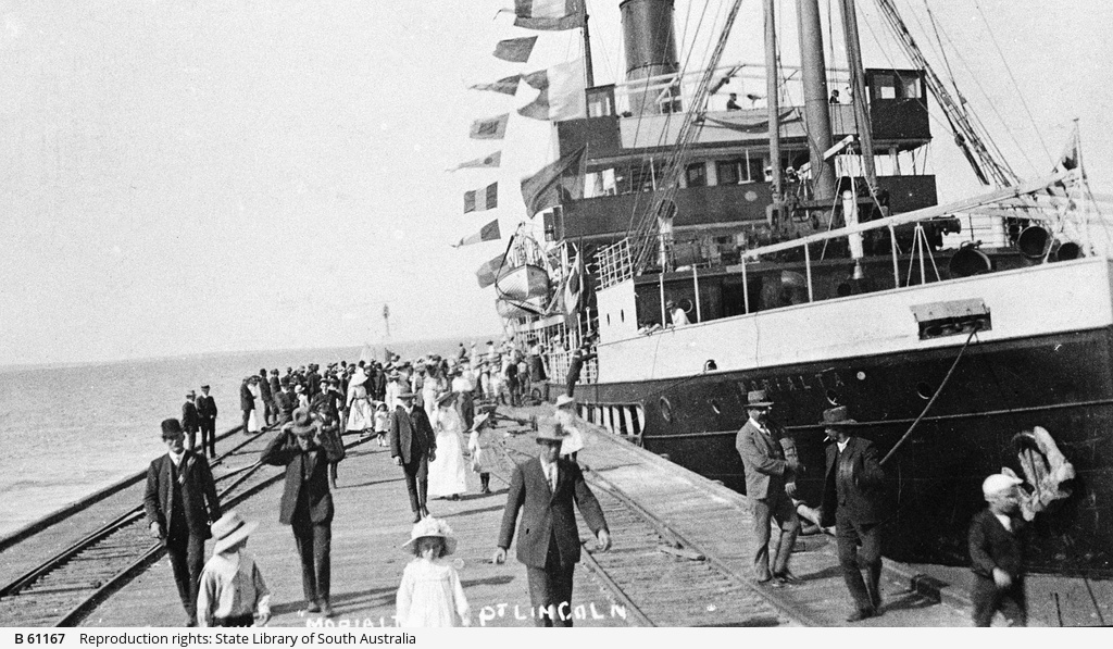 Arrival of 'S.S. Morialta' at Port Lincoln.
