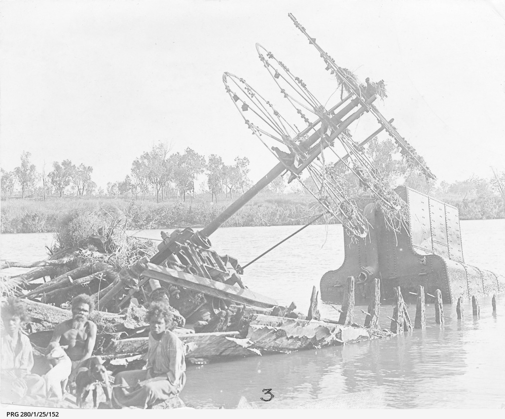 The wreck of a paddle steamer