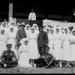 Group of nurses and army officers