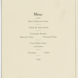 Menu of a luncheon at the Hotel Cecil, London.