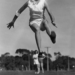 Broadjump competitor, A. Shanley
