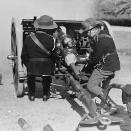 Artillery trainees firing a salute