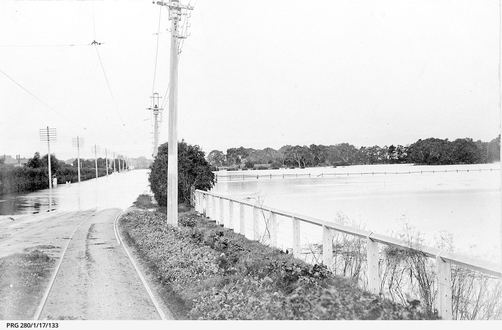 Flooding of the Torrens River on the Henley Beach road, South Australia