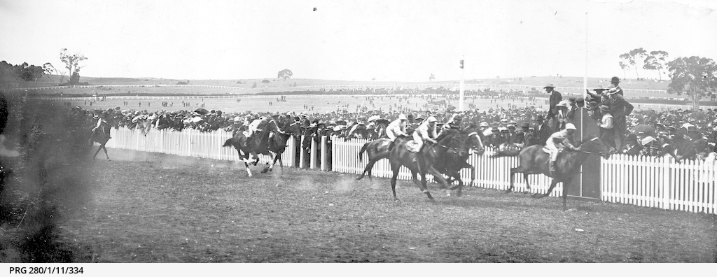Horse racing on the track at Victoria Park, Adelaide