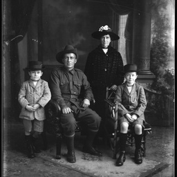 Portrait of a World War One soldier and family