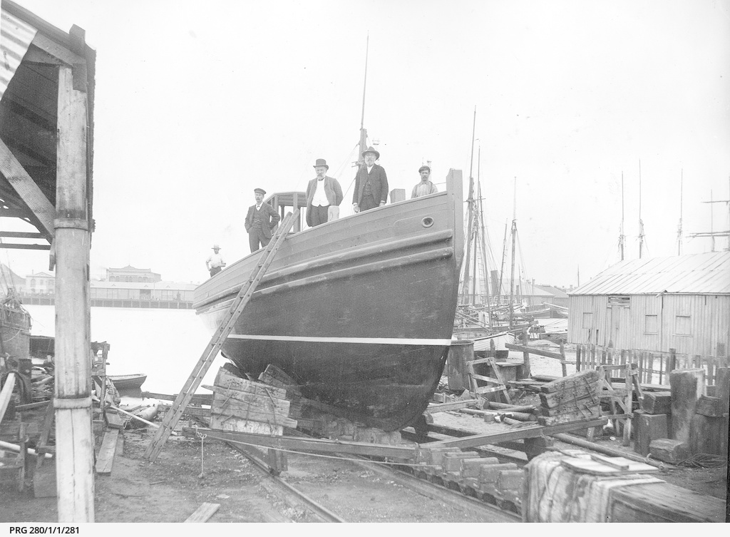 "The ""Anne E. Price"", a launch under construction"