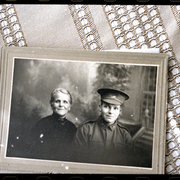 Portrait of a World War One soldier and his mother