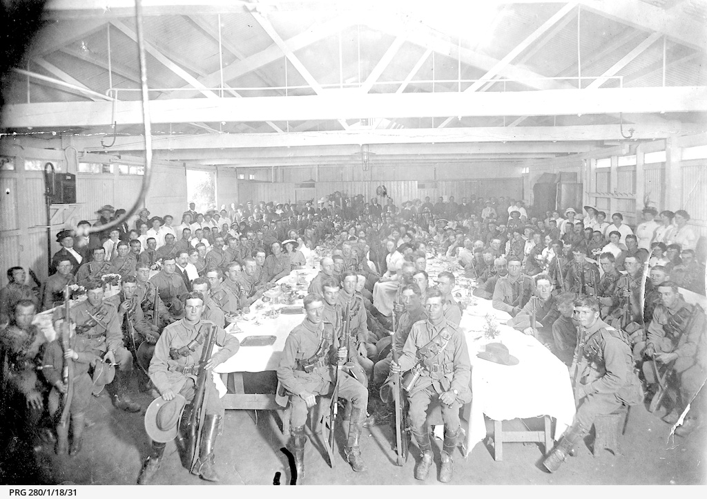 Soldiers' dinner at the Cheer Up Hut, Outer Harbor
