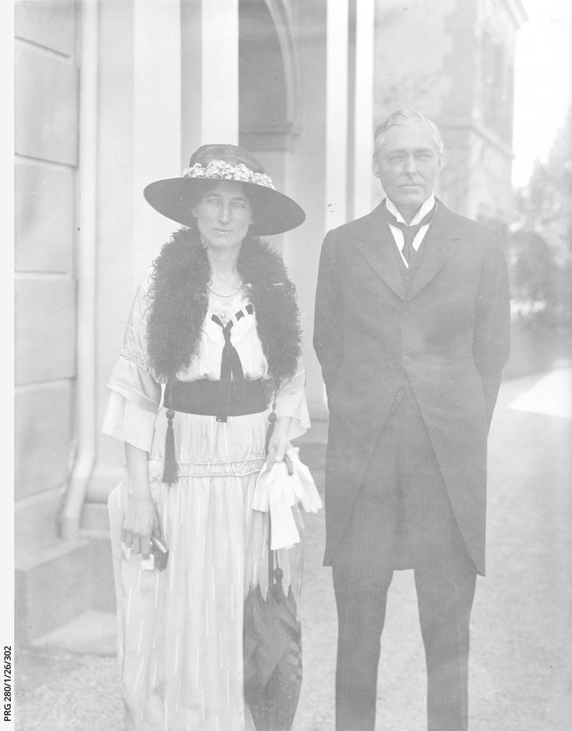 Lord and Lady Forster outside Government House, Adelaide.