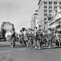 U.S. Air Force Band marching to the Coral Sea service