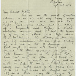 Letter from Ross Smith during World War I to his mother, Palestine