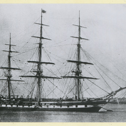 The 'Renown' moored in an unidentified port