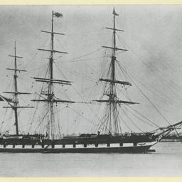 The 'Malabar' moored at Gravesend, U.K.