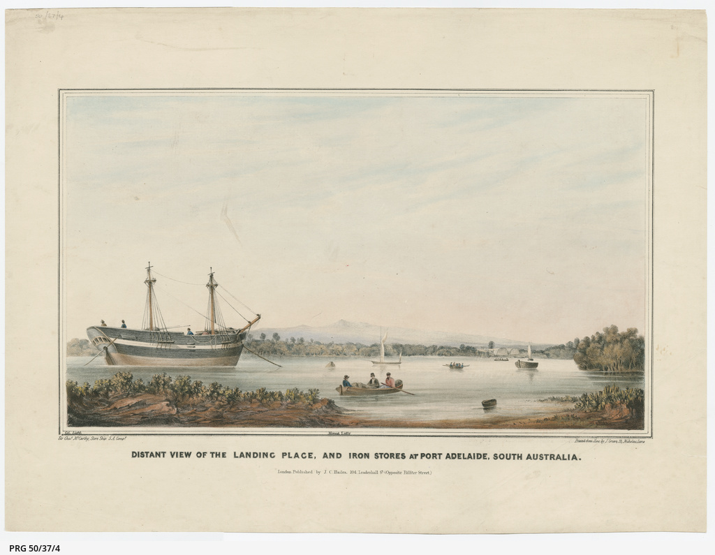 Distant view of the landing place, and iron stores at Port Adelaide, South Australia.