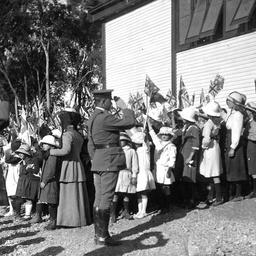 Soldiers and school children