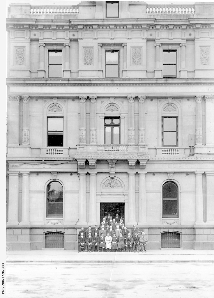 Harbors Board staff outside their offices in Victoria Square, Adelaide