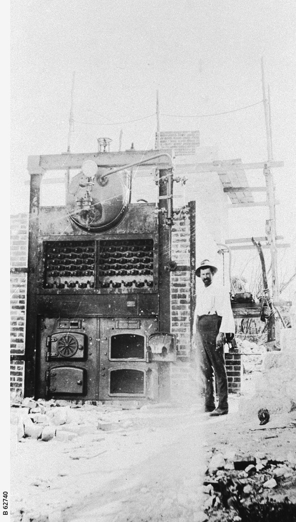 A boiler at the gypsum workings, Stenhouse Bay
