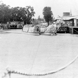 P.S. Nile, P.S. Australien and barges at Echuca Wharf
